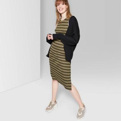 Women's Striped Sleeveless Round Neck Knit Tank Midi Dress - Wild Fable™ Olive