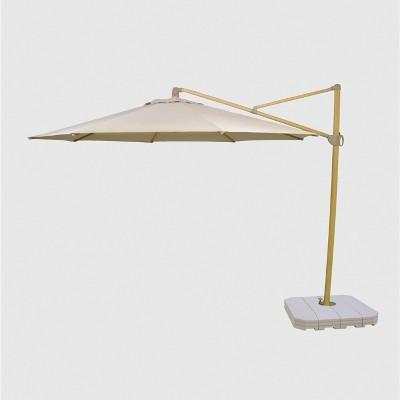 11 offset patio umbrella duraseason fabric tan light wood pole threshold
