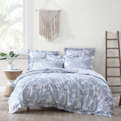 sloan floral jacquard duvet set king duvet and two king pillow shams blue villa lugano by levtex home