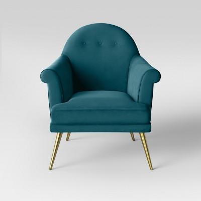 target blue chair office upholstery repair myna tufted velvet arm with brass legs opalhouse