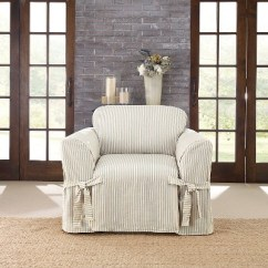 Living Room Chair Slipcovers Best Curtains For 2016 Ticking Stripe Slipcover Blue Sure Fit Target
