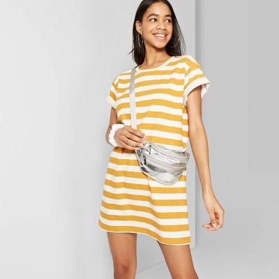 Women's Striped Short Sleeve Round Neck T-Shirt Dress - Wild Fable™ Orange/White