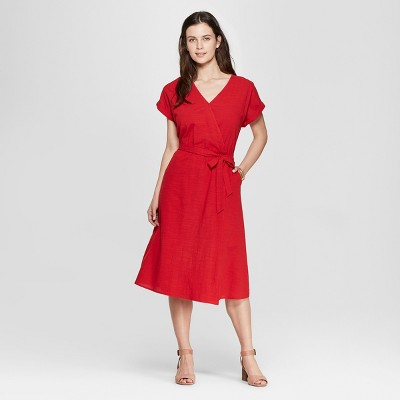 Women's Short Sleeve V-Neck Midi Dress - Universal Thread™