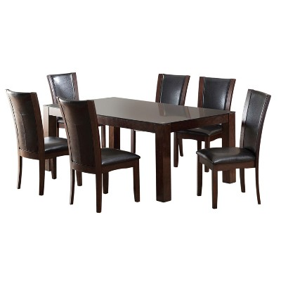 glass top kitchen table islands with seating for 2 iohomes 7pc tempered dining set wood dark cherry target