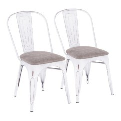 White Upholstered Chairs Little Girls Table And Set Of 2 Oregon Industrial Vintage Gray Lumisource
