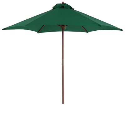 9 round wood patio umbrella hunter green