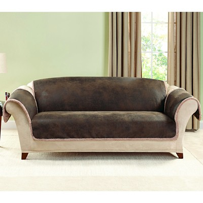 sofa covers for leather faux suede bed brown vintage slipcover sure fit target