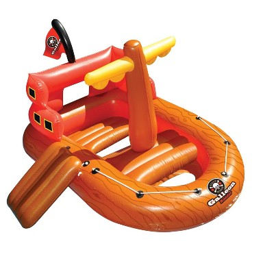 "Swimline 62"" Inflatable Galleon Raider Pirate Ship Floating Toy - Orange/Red"