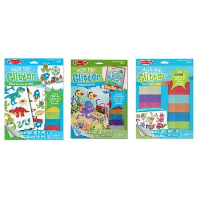 Melissa & Doug® Mess-Free Glitter Activity Kits Set - Underwater Scenes, Adventure Foam Stickers, and Booster Glitter Pack