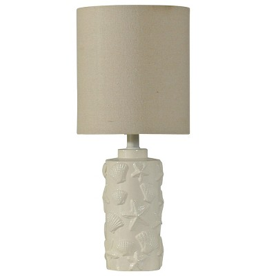 Seashell Motif Table Lamp in White with Hardback Fabric Shade (Lamp Only) - StyleCraft