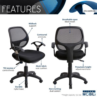 office chair adjustment levers where can i rent tables and chairs midback mesh task black techni mobili target 4 more
