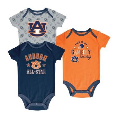 Auburn Tigers Baby Boy Short Sleeve 3pk Bodysuit
