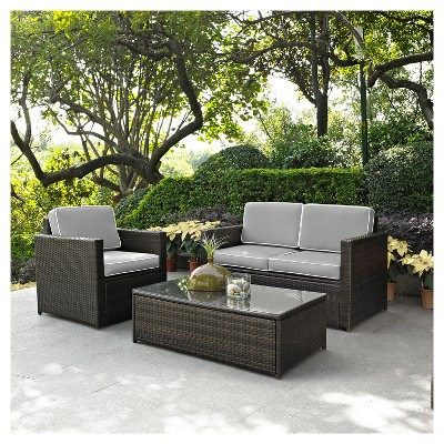palm harbor 3pc all weather wicker patio seating set gray crosley