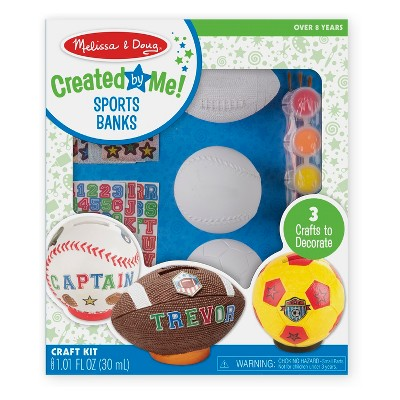 Melissa & Doug® Decorate-Your-Own Sports Set Craft Kit - Soccer, Baseball, and Football Banks
