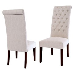 Tall Back Dining Chairs Sex Swing Chair Tufted Natural Set Of 2 Christopher Knight Leorah Home