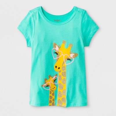 Toddler Girls' Adaptive Short Sleeve Giraffe Graphic T-Shirt - Cat & Jack™ Green