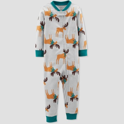 Baby Boys' 1pc Moose Organic Cotton Pajamas - Little Planet by Carter's Gray