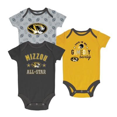 Missouri Tigers Baby Boy Short Sleeve 3pk Bodysuit