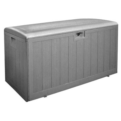plastic development group 130 gallon weather resistant plastic resin outdoor patio storage deck box with gas shock lid driftwood