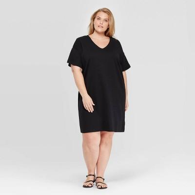 Women's Plus Size Short Sleeve V-Neck T-Shirt Midi Dress - Prologue™ Black