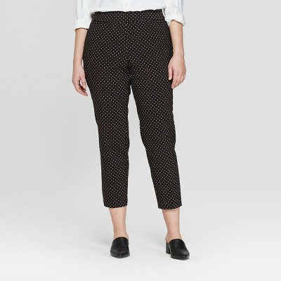 Women's Plus Size Polka Dot Pull On Skinny Ankle Pants - Ava & Viv™ Black