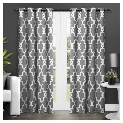 Ironwork Sateen Woven Room Darkening Window Curtain Panel Pair - Exclusive Home™