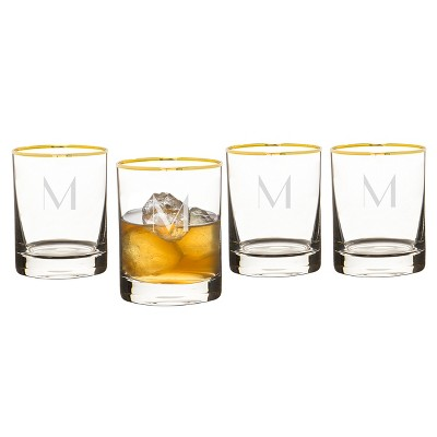 Cathy's Concepts Monogrammed Gold Rim Whiskey Glasses 11oz - Set of 4