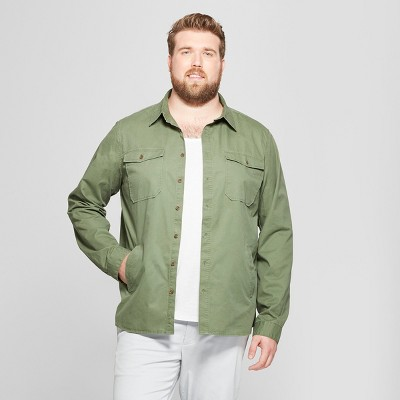 Men's Big & Tall Standard Fit Long Sleeve Utility Shirt Jacket - Goodfellow & Co™