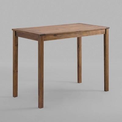 acacia wood rectangle counter height patio table dark brown saracina home