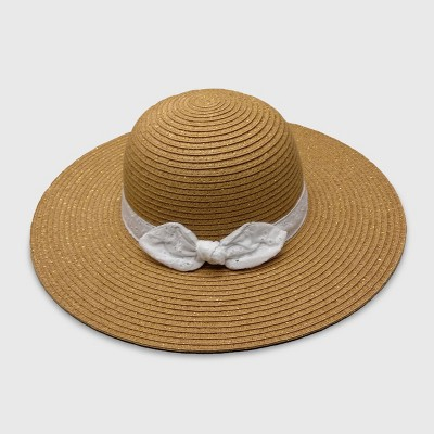 Baby Girls' Paper Braid with Gold Lurex Floppy Hats - Cat & Jack™ Brown 12-24M