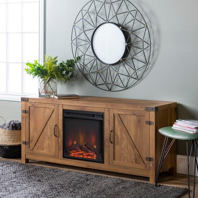 "58"" Barn Door Fireplace TV Stand - Saracina Home"