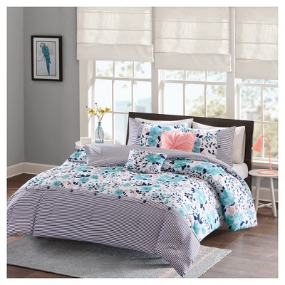 blue brie floral printed reversible comforter set full queen 5pc