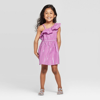 Toddler Girls' Striped A-Line Dress - Cat & Jack™ Purple