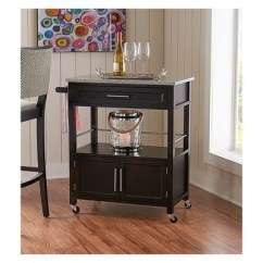 Granite Top Kitchen Cart Modern Sets Cameron Wood Black Linon Target 2 More