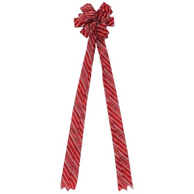 """Northlight 48"""" Red and White Candy Cane Glitter Stripe 16 Loop Christmas Tree Topper Bow Decoration"""