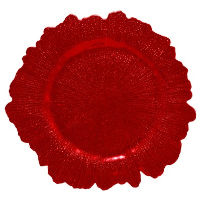 """Charger Plate Glass Red 13.75""""x13.75"""" Set of 6 - 10 Strawberry Street"""