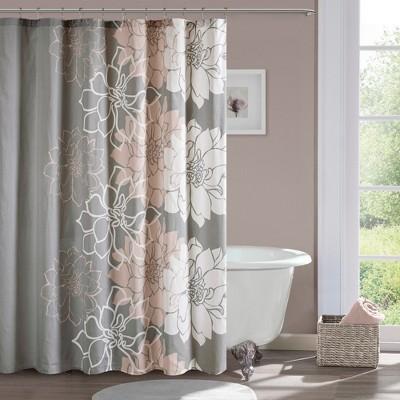 jane floral cotton shower curtain gray blush