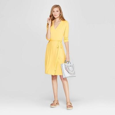 Women's Slim Fit 3/4 Sleeve V-Neck Knit Wrap Dress - A New Day™