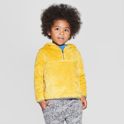 Toddler Boys' Teddy Bear Fleece Hoodie - Cat & Jack™ Bronzed Yellow