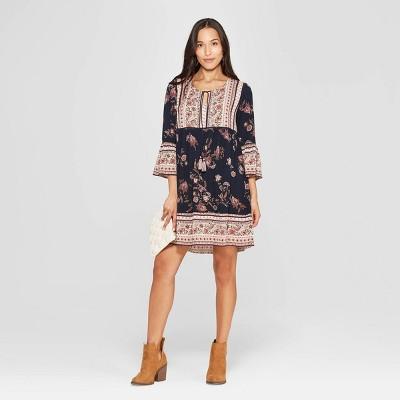 Women's Floral Print 3/4 Sleeve Crew Neck Shift Midi Dress - Knox Rose™ Mid Night Blue