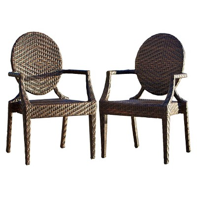 wicker patio chair set of 2 shoe shaped adriana chairs brown christopher knight home