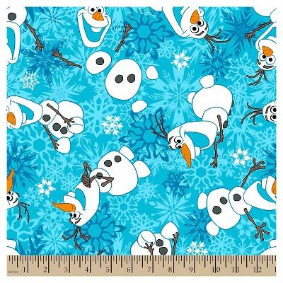 Frozen Olaf Winter Snowflakes Fleece Fabric