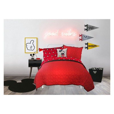 Disney Mickey Mouse Quilt Set Red  Target