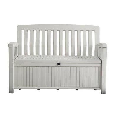 60gal patio storage bench deck box white keter