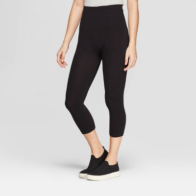 Women's High Waist Cotton Capri Leggings - A New Day™ Black