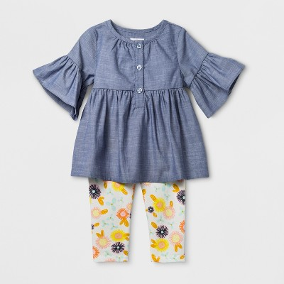 Baby Girls' Short Sleeve Chambray Henley Tunic with Fleece Leggings Set - Cat & Jack™ Blue
