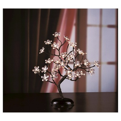 """Lightshare 18"""" 36 LED Crystal Clear Acrylic Flower Bonsai With Green Leaf And Battery Powered - Warm White Lights"""