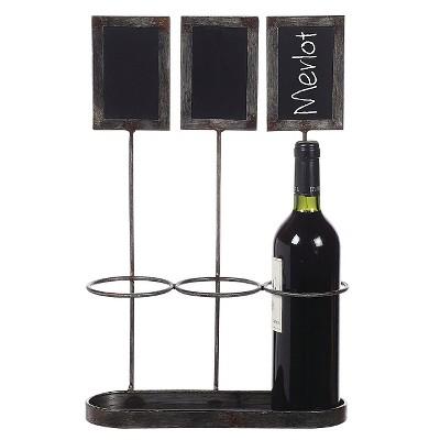 """Metal Wine Bottle Holder/Chalkboard Holds with 3 Bottles (17-1/4""""H)"""