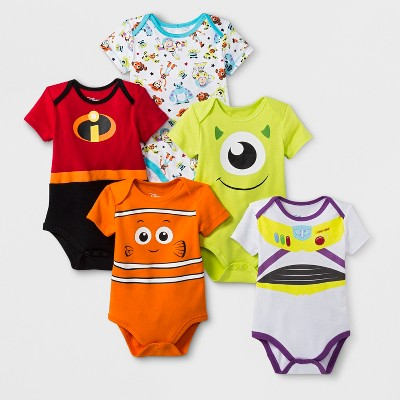 Baby 5pk Disney Pixar Short Sleeve Bodysuit