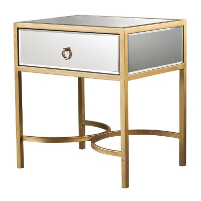 siryen modern side table mirrored gold christopher knight home